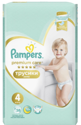 Трусики Pampers Premium Care Pants 4+ Maxi 9-15кг 58шт